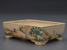 一石 色絵盆栽鉢