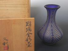 瑠璃金彩壷